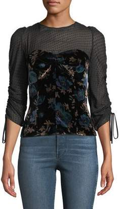 Rebecca Taylor Solstice Velvet Ruched-Sleeve Top