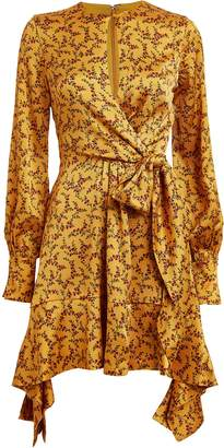 Jonathan Simkhai Hammered Silk Floral Mini Dress