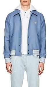 """Off-White Men's """"White Black"""" Wool-Blend Varsity Jacket - Lt. Blue"""