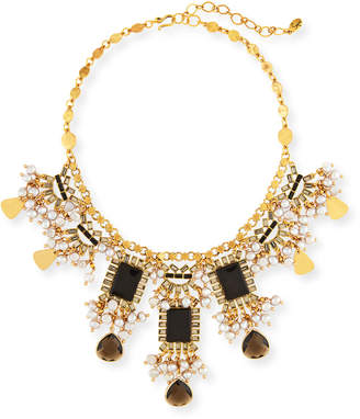 Sequin Pearly Statement Necklace, Black