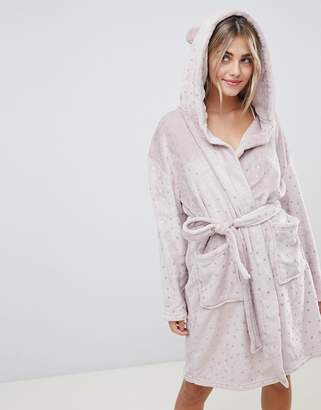 Loungeable luxe fleece hooded dressing gown in metallic star print c2bd11b0e