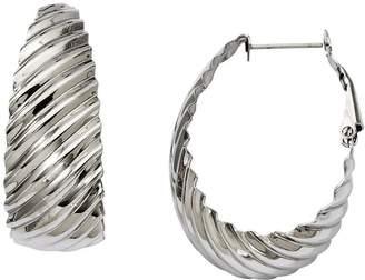 """Steel By Design Stainless Steel 1-1/4"""" Textured Oval Hoop Earrings"""