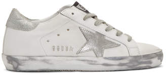 Golden Goose White and Silver Superstar Sneakers