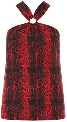 Dorothy Perkins Womens Red Ring Front Snake Design Halter Neck Top