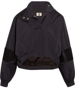 Topshop Cropped Calf Hair-Paneled Shell Jacket