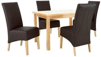 Very McCauley 120-150 cm Solid Wood Extending Table + 4 Chairs - Brown/Oak