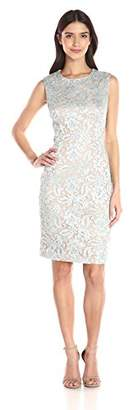 Carmen Marc Valvo Women's S/l Allover Lace Sheath W. Beaded Accents,8
