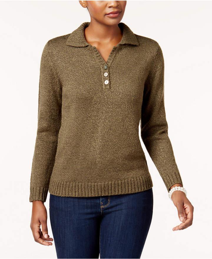 Karen Scott Petite Henley Sweater, Created for Macy's