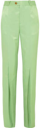 Acne Studios Tohny Pleated Satin-twill Flared Pants - Green