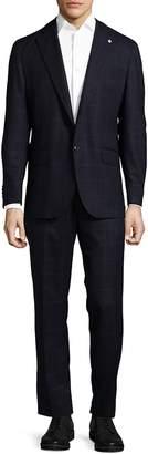 Lubiam Men's Box Striped Wool Suit