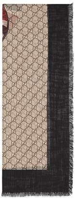 Gucci Web and Kingsnake print wool scarf