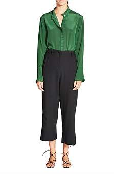 Lee Mathews Jackie Textured Crepe Crop Pant