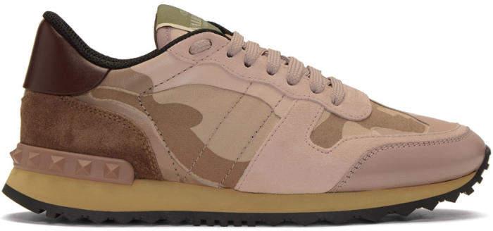 Valentino Pink Valentino Garavani Camo Rockrunner Sneakers