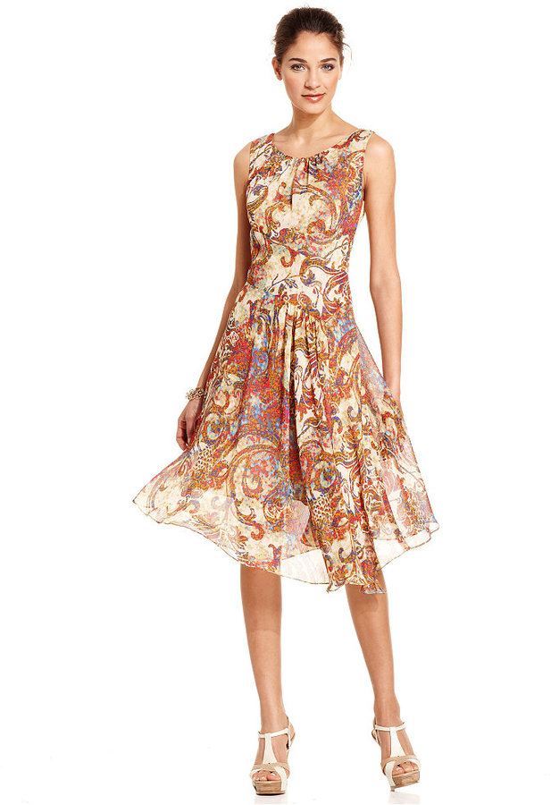 Evan Picone Dress, Sleeveless Printed Seamed