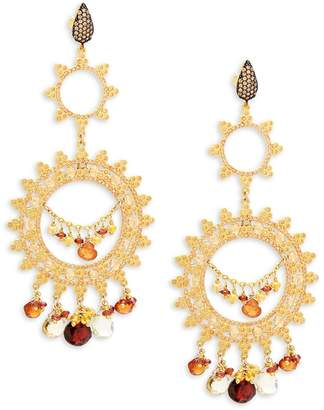 Azaara Women's Goldtone & Garnet Chandelier Earrings