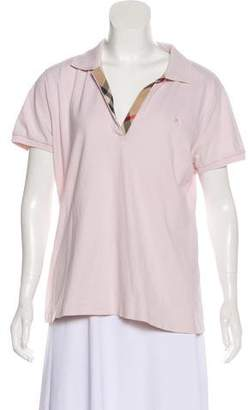 Burberry Short Sleeve V-Neck Top