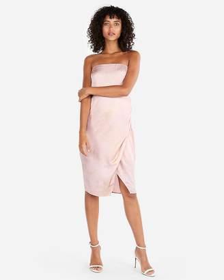 Express Shimmering Side Slit Strapless Dress