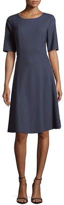Lafayette 148 New York Elbow Sleeve Corey A-Line Dress