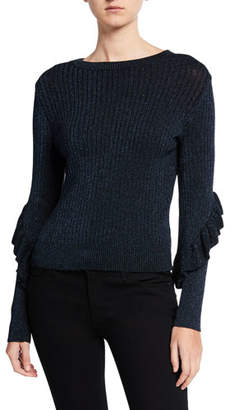 Elie Tahari Hope Ruffle Long-Sleeve Sweater