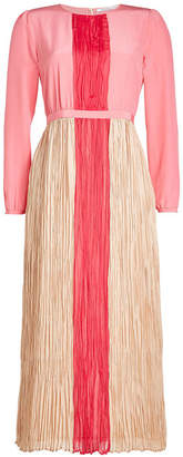 Agnona Silk Dress with Pleated Detail