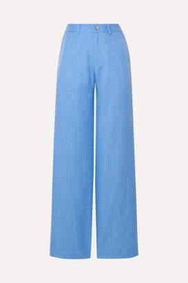Maggie Marilyn Net Sustain Go Getter Pinstriped Woven Straight-leg Pants - Azure
