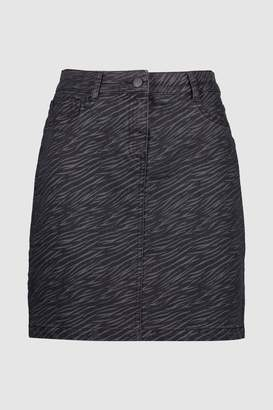 Next Womens Purple Zebra Coated Denim Mini Skirt