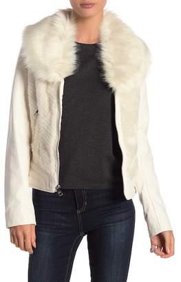 GUESS Faux Fur Faux Leather Jacket