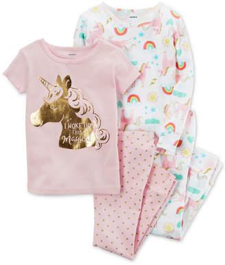 Carter's 4-Pc. Unicorn Cotton Pajama Set, Toddler Girls (2T-5T) $34 thestylecure.com