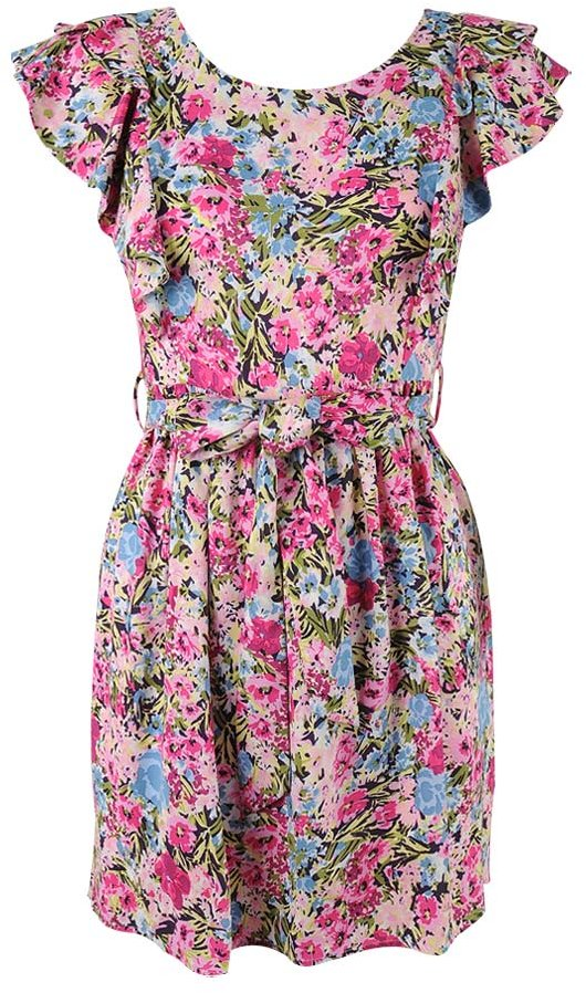 Flutter Capsleeve Floral Dress