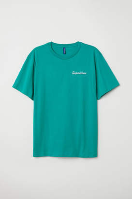 H&M T-shirt with Motif - Turquoise