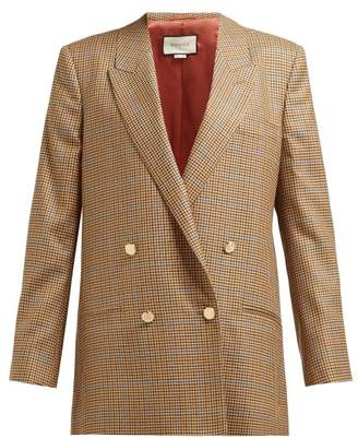 Gucci Micro Houndstooth Double Breasted Wool Blazer - Womens - Brown Multi