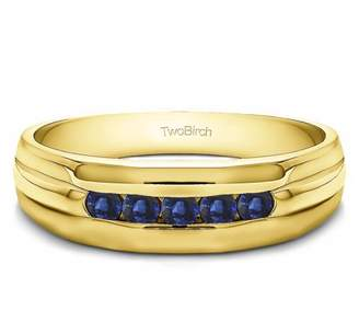 TwoBirch Sapphire Mounted in Sterling Silver Sapphire Classic Channel Set Men's Wedding (0.5crt)