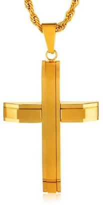 West Coast Jewelry Crucible Gold Plated Polished Stainless Steel Layered Cross Pendant
