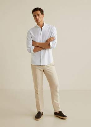 MANGO MAN - Slim fit mao collar shirt green - XXS - Men