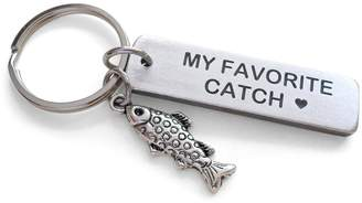 JewelryEveryday Fish Keychain with My Favorite Catch Engraved Aluminum Tag; Couples Keychain