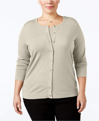 August Silk Plus Size Silk-Blend Cardigan