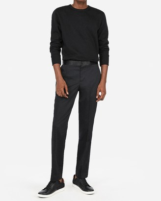 Express Slim Black Satin Accent Cotton Sateen Tuxedo Pant