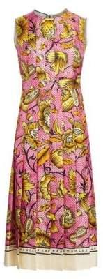 Gucci Printed Silk Twill Midi Dress