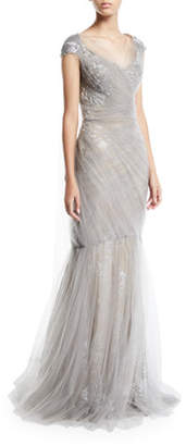 Pamella Roland Cap-Sleeve Metallic Floral Brocade Gown With Draped Tulle Overlay