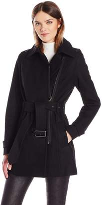 Kenneth Cole Reaction Reaction by Kenneth Cole Women's Asymmetrical Belted Wool Jacket