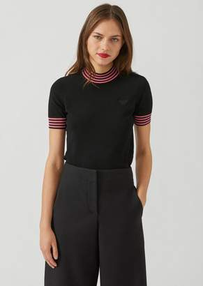 Emporio Armani Knit Turtleneck With Two-Tone Striped Collar And Sleeve Ends