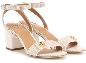 Tory Burch Kira leather-trimmed canvas sandals