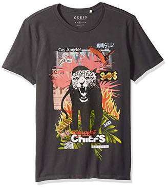 GUESS Men's Short Sleeve Basic Tiger Colong Lineage Crew T-Shirt