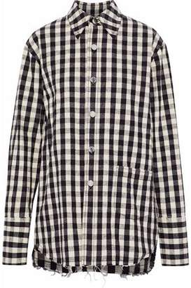 Helmut Lang Frayed Checked Cotton And Linen-Blend Shirt