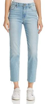 Paige Jacqueline Straight-Leg Frayed-Hem Jeans in Lumina