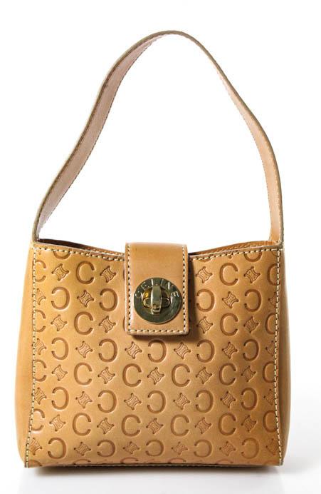 CelineCeline Light Brown Leather Embossed Gold Tone Turn Lock Donna Shoulder Handbag