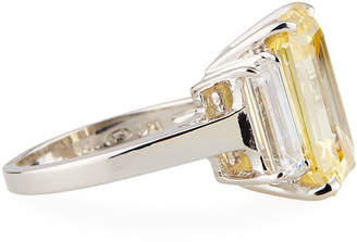 FANTASIA Large Cubic Zirconia Cushion Ring, Yellow/Clear