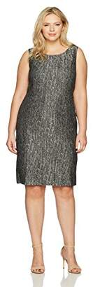 Kasper Women's Plus Size Metallic Jacquard Pleated Dress