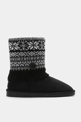 Ardene Printed Faux Suede Cable Knit Boots