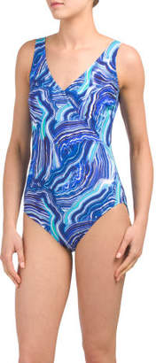 Marble Pattern Surplice One-piece Swimsuit